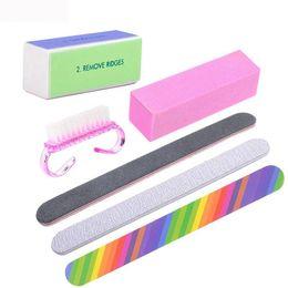 Профессиональный набор инструментов для маникюра 6 шт. / компл. Инструменты для укладки ногтей Щетка для очистки ногтей Прямоугольный напильник Прочный полирующий песок ... от