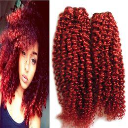 pedaços de cabelo encaracolado vermelho Desconto Cabelo malaio Kinky Curly Extensões de Cabelo Humano Pacotes de Tecelagem 2 Peça Brasileira Vermelho Humano Weave Bundles