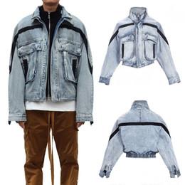 Полосатая джинсовая ткань онлайн-19FW туман 6-й джинсовая куртка страх Божий карман полосатый синий мода свободные повседневная улица пальто Мужчины Женщины мыть куртка верхняя одежда LJJA2860