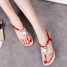 2019 сова сандалии Women Flats Owl Shoes Flip flops Flats Rhinestone Shoes Women's Bohemian Sandal Rhinestone Thong Sandals скидка сова сандалии