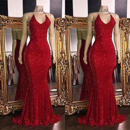 plus size maternity spring summer dresses Promo Codes - Sparkly Red SequinsSexy V Neck Backless Prom Dresses 2019 Halter Mermaid Long Prom Gowns Low Back Arabic Party Dress BC1085