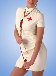 boton de latex Rebajas Traje de enfermera blanco con botón frontal de látex vestido de las mujeres de látex de caucho faldas ajustadas con NAC trajes atractivos de Cosplay