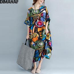Più retro modello di formato online-Dimanaf Abito Donna Plus Size Summer Pattern Stampa Lino Colorato Femminile Allentato Batwing Casual Retro Vintage Large Size Abiti J190620