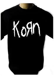 Музыкальные группы логотипы онлайн-KORN LOGO Черная футболка Мужская рубашка Rock Band Tee Music Смешно бесплатная доставка Унисекс Повседневная