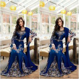 Royal blue kaftan abayas online-2019 modest königsblau luxus kristall moslemisch arabisch abendkleider mit applique spitze abaya dubai kaftan lange formale prom party kleider