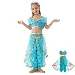 Tv garota americana on-line-Aladdin dança terno lâmpada mágica jasmim princesa COS roupas Europeu e meninas americanas traje de Natal Halloween