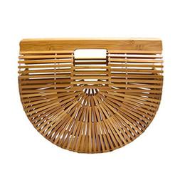 Strohhandtasche online-Sommer Bambus Handtasche Für Damen Korb Weibliche Tragetaschen Holz Geldbörse Halbrunde Bambus Tasche Frauen Handgemachte Gewebte Stroh Strandtasche