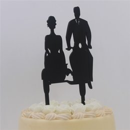 Torte doccia nuziale online-Wedding Cake Topper - Sposa e sposo in sella a moto Silhouette acrilico Cake Toppers per Bridal Shower Anniversary Party Cake Decor
