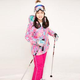 2019 vestito esterno di inverno dei capretti Bambini invernali tuta da sci per bambini impermeabile antivento termico giacca da snowboard ragazze sport all'aria aperta sci vestiti pantaloni set vestito esterno di inverno dei capretti economici