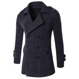 2019 jaqueta de gola mandarim de veludo 2019 Outono Inverno Masculino Marca Roupa Chaqueta Hombre misturas de lã Homens Trench Jacket Men Peacoat Homens Jaquetas e casacos M-XXL