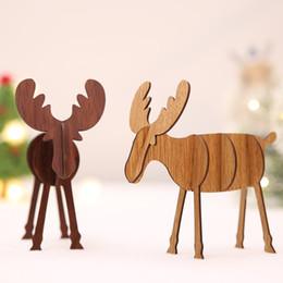 Rentierholz online-8 stücke Handgemachte Hölzerne Weihnachten Rentier Kreative Holz Handwerk Kugeln Weihnachten Tischdekoration Weihnachtsgeschenk Cristmas