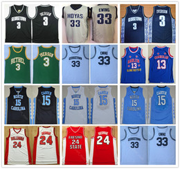 uniformes de basquete universitário Desconto Universidade 3 Georgetown Hoyas Allen Camisa Iverson Patrick Ewing Uniforme 33 Vince Carter Paul George Wilt Chamberlain 13 Basquete Universitário