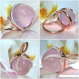 anillos de oro topacio rosa Rebajas Anillo de diamante de oro de 14K Rose Moonstone de la Mujer Rosa oval Topaz Biżuteria Anillos de boda de la piedra preciosa joyería 14K Cirle Ring Box
