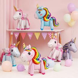 Decorações bonitos da festa de anos on-line-Bonito 3D Unicórnio Balões de Moda Dos Desenhos Animados de Alumínio Filme Decoração de Festa de Aniversário das Crianças Brinquedo Animal Decoração Do Presente Do Partido TTA940