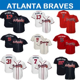 homens de beisebol Desconto Homens Atlanta 2019 Braves Jersey Austin Riley Ronald Acuna Jr Jr Ozzie Albies Freddie Freeman Dansby Swanson Chipper Jones camisola de baseball