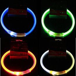 schwarzer strass hundehalsband Rabatt USB-Gebühr Haustiere Hundehalsband LED Outdoor Luminous Sicherheit Pet Hundehalsbänder Licht Einstellbare LED blinkt Welpen Kragen Pet Supplies DBC BH3129