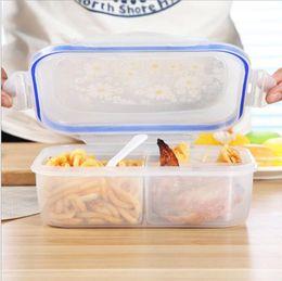 Caja de almuerzo online-1100 ml Microondas de frutas Bento Lunch Box Picnic Box Contenedor de alimentos Contenedor de alimentos de 3 celdas Bento Boxes Microware oven LunchBox KKA6416