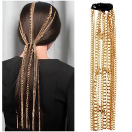 Borla de grampo de cabelo de ouro on-line-Punk Gold Star Cadeia Cabelo Acessórios Acessórios Hip Hop de metal borla grampo de cabelo das mulheres