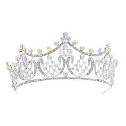 Canada Couronne de cristal alliage cheveux cerceau mariée mariage coiffe bande de cheveux pour demoiselle d'honneur mariée (argent) Offre