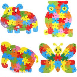 2019 placas de quebra-cabeça Bonito animal do alfabeto Jigsaw Para Crianças desenho animado educação quebra-cabeça animais 26 carta enigma bordo brinquedo quebra-cabeça de madeira na primeira infância placas de quebra-cabeça barato