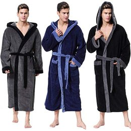 2019 Men Winter Plus Size 5XL Lengthened Thermal Plush Shawl Bathrobe Long  Sleeved Patchwork Robe Underwear Warm Kleding Set E7 be1196a64