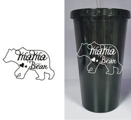 Делать соломинку онлайн-МАМА медвежонок пластиковый стакан с соломой 16 унций бутылка черного сока мама мама любовь на заказ бесплатная доставка