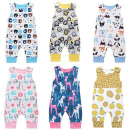 2019 macacão de urso bebê Macacão de bebê 14 projetos verão sem mangas leões limão cão urso baleia impresso menino meninas recém-nascido infantil crianças roupas de verão macacão 0-2 t 04 macacão de urso bebê barato