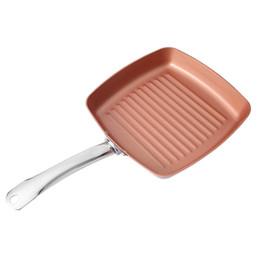 Нержавеющая сталь онлайн-9.5 дюймов из нержавеющей стали с антискользящей медной квадратной полосой сковороды жаропрочной сковороде посуда