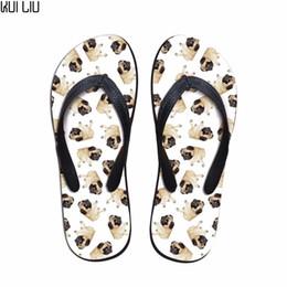 Zapatos rosa para perros online-Chanclas Slip-on personalizadas de nueva moda para mujer Zapatillas de verano de perro lindo Pug Animal para damas Zapatos planos de playa 3D Husky para mujer