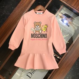 gowns neck pattern Promo Codes - Girls dress kids designer clothing autumn new cotton dress casual sweatshirt style dress classic bear pattern design