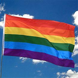Canada 90 * 150 cm Arc-En-Drapeau 3x5 Pieds Polyester Gay Pride LGBT Drapeau avec Oeillets En Laiton Bannière Parfaite De Mariage Décorations Offre
