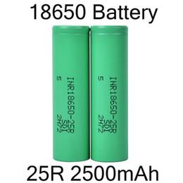 Литий для батарей онлайн-2500mah INR 25R 18650 аккумулятор с Samsung литиевая батарея плоский верх аккумуляторные батареи для фонарик фары DHL Free FJ752