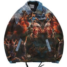 2020 tracciato Vintage pattern completo stampato il rivestimento degli uomini Hip Hop Coaches Streetwear Track Jacket Windbreaker Jacket Sport Casual Rapper Roccia tracciato economici