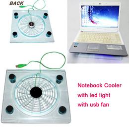 platten weniger Rabatt Laptop Kühlung Mini Fan USB Schnittstelle Cooling Pad mit LED-Licht schützen Notebook-Sicherheitsventilatoren für 10-14 Zoll Laptop
