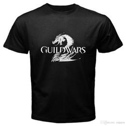 Yeni GUILD WARS Ünlü Video Oyunu erkek Siyah T-Shirt Sml XL 2XL 3XLFunny Erkekler Için Pamuk Kısa Kollu Gömlek supplier video war nereden video savaşı tedarikçiler