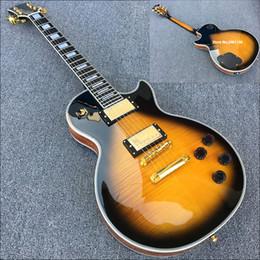 Chitarra elettrica di qualità professionale online-specificazione LP di alta qualità 6 corde chitarra elettrica, il tono ponte professionale, mogano massello, cromato hardware, la consegna gratuita