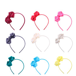 metallic cloth Promo Codes - Children Bow Headband Headwear Hair Accessories Cloth Card Slip Baby Hair Sticks Transparent Dot 12 Colors 40
