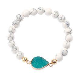 Perline di quarzo per gioielli online-Stile semplice di modo Handmade BRACCIALI Classic Geode Druzy Ciondolo in Quarzo Bracciale pietra naturale cristallo tallone agata gioielli unisex