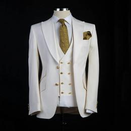 Canada Nouvelle arrivée garçons d'honneur ivoire marié smokings pointe revers revers costumes pour homme mariage meilleur blazer homme marié (veste + pantalon + gilet + cravate) L234 cheap ivory peak lapel tuxedo Offre