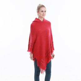 più il cappotto del poncho di formato Sconti Nuove donne alla moda con cappuccio in tinta unita Poncho Cape Ladies Plus Size maglioni lavorati a maglia oversize pullover donna cappotto libero