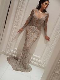 2019 vestido de mulher Yousef Aljasmi Charbel Zoe manga longa Vestidos de Desgaste da Noite Cristais de Luxo Vestido de Noite de Ouro Zuhair murad Celebridade Prom Vestidos vestido de mulher barato