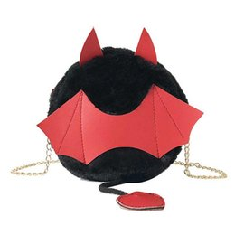 red hand bag for girls Coupons - Personality Chic Chain Cute Crossbody Bag Furry Cotton Hand Bags Girl Slung Bat Shape Small Round Shoulder Bag For Female Women