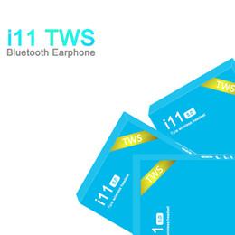 Cajas de auriculares online-I11 TWS inalámbricas Bluetooth Auriculares Auriculares con los gemelos Mini auriculares para i11 caja azul 5.0 táctil