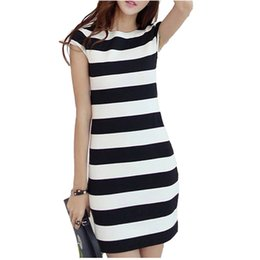 koreanisches kleid gestreift Rabatt Plus Size Frauen K-Pop Kleid Korean Cut Out Tie Bow Backless Kurzarm gestreiften Sommerkleid Mini Verband Sexy Casual Dress