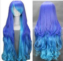 2019 capelli ricci blu viola Parrucca spedizione gratuita lunga donna ricci viola blu 36