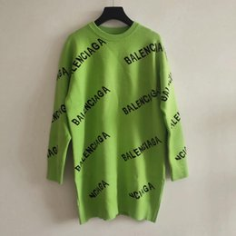Pulôver verde suéter on-line-2019 Outono Preto / Verde / Vermelho Longo Pulôveres das Mulheres Designer Carta do Logotipo da Cópia Camisolas Longas Das Mulheres 82992