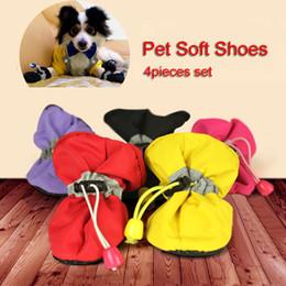 2019 botas para cães Cães pequenos Gatos Meias Botas Finas 4 Pçs / set Pet Dog Sapatos Macios 7 Tamanho Anti-slip Cachorrinho Botas À Prova D 'Água Meias Anti-slip Shoes BH0987 TQQ botas para cães barato
