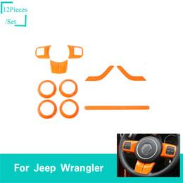 acessórios carro laranja Desconto ABS orange interior kit decoração 2 portas 10 pcs decoração capa para jeep wrangler jk 2011-2017 acessórios do carro