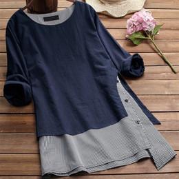 b246488f9b8d Mujeres falso irregular de dos piezas Blusas Primavera otoño remiendo de  manga larga camisas O-cuello tallas grandes Casual Tops