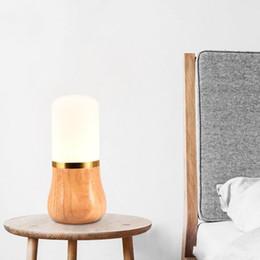 Coreano tabela decorações on-line-Nórdico minimalista criativo lâmpada de madeira original quarto decoração de cabeceira Japonês e Coreano madeira maciça estudo de carvalho candeeiro de mesa de vidro